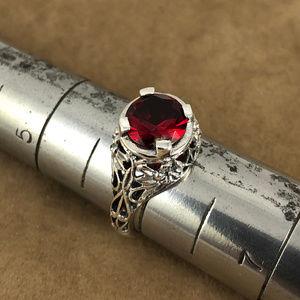 Fire Garnet 925 Sterling Silver Filigree Ring sz 6